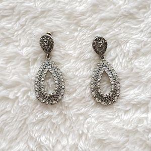 Vintage Silver Rhinestone Drop Earrings